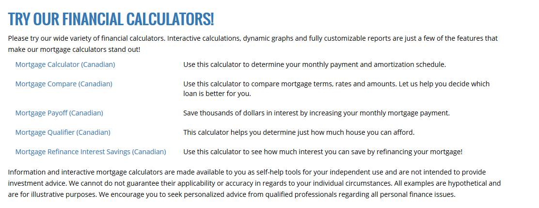 Canadian Mortgage Calculator